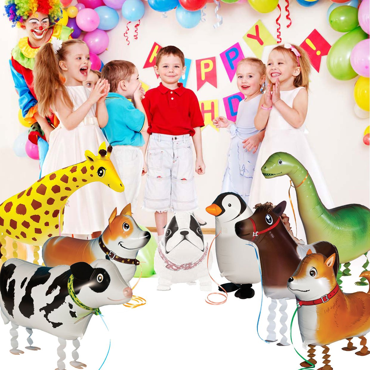 5pcs Walking Pet Animal Balloons Kids toys Party Favors Gifts for Girls Air Walker group-F by Merveilleux (Image #3)