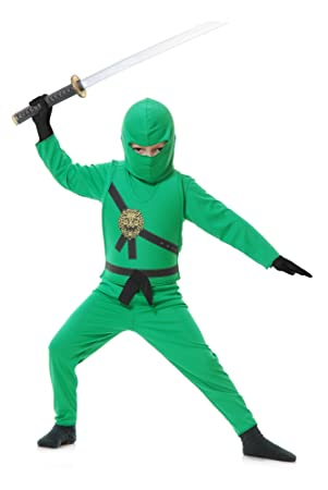 Child Green Ninja Fancy Dress Costume Large (10-12): Amazon ...