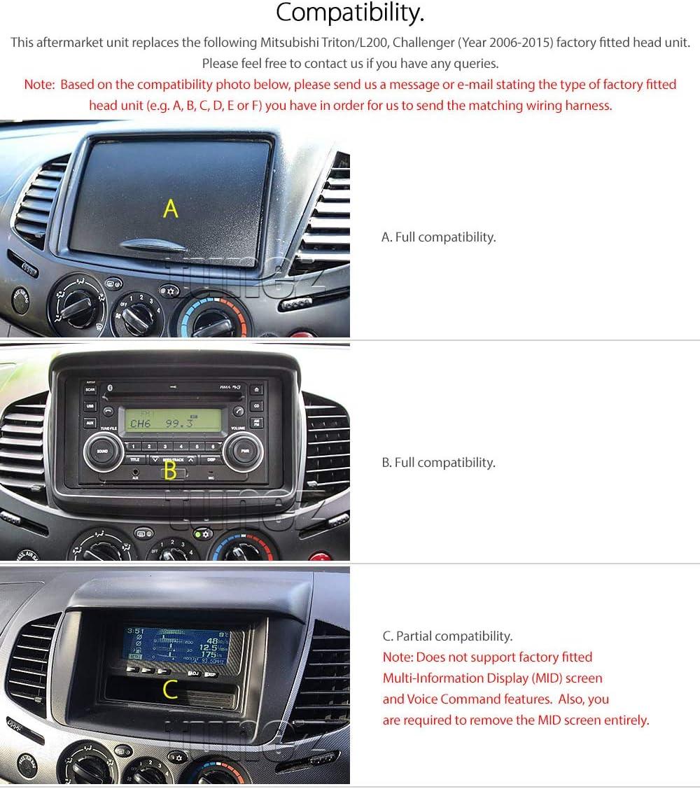 CARAV 11-156-30-6 Kit dinstallation autoradio DIN Car de 2 Dash Set pour L200 Triton PAJERO SPORT Challenger PAJERO Dakar Adaptateur ISO and Antenna Cable
