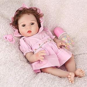 CHAREX Realistic Reborn Baby Dolls Silicone Full Body 18 inch Bath Lifelike Reborn Girl Toys Gift Set for Age 3+