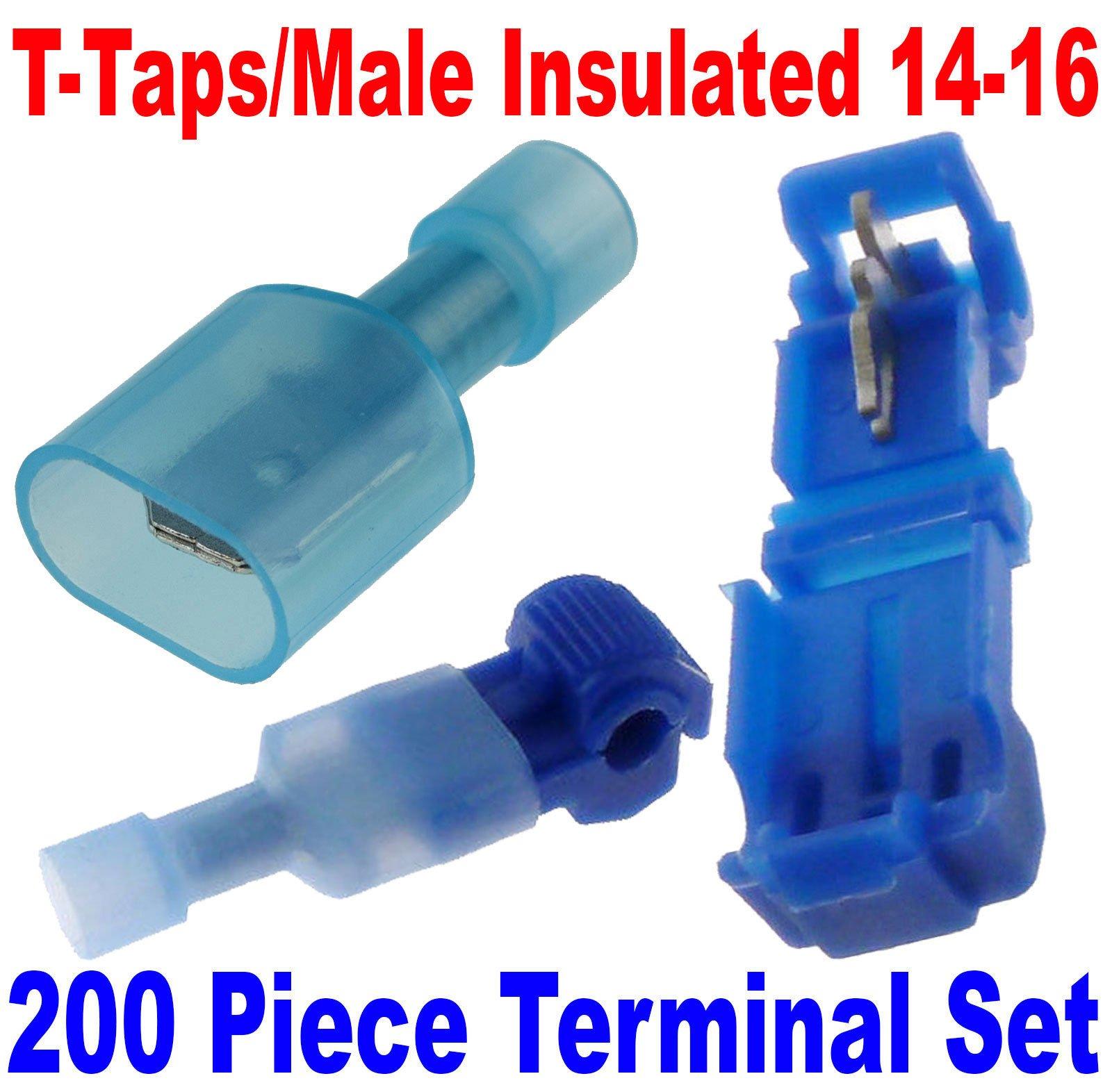 (200) T-Taps/Male Insulated 14-16 Ga Wire Connectors Car Audio Terminals USA