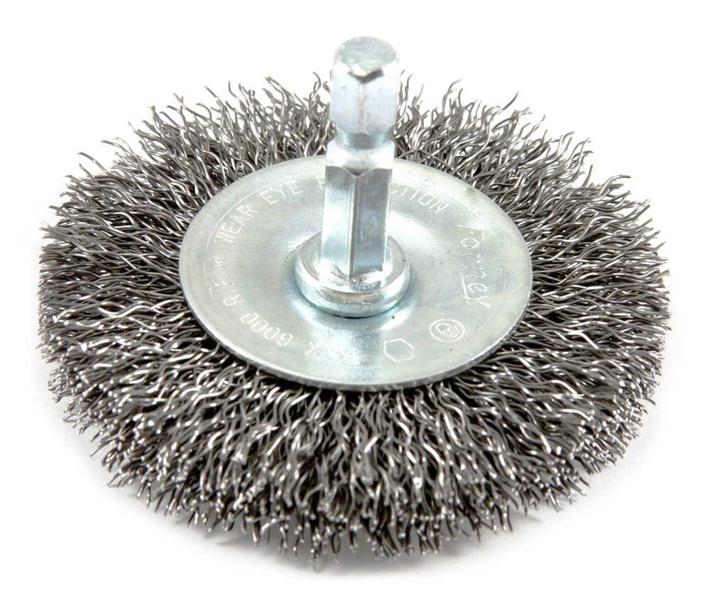 Forney 72733 Wire Wheel Brush Coarse Crimped with 1 4 Inch Hex Shank 2 1 2 Inch by .012 Inch