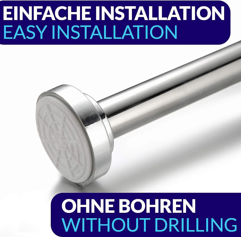 agarre seguro barra de ducha de acero inoxidable Barra para cortina de ducha sin agujeros extensible de 120 a 230 cm