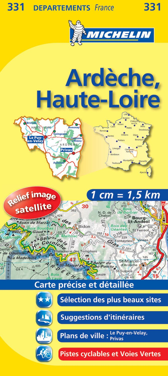 Ardeche Haute Loire Road Map 331 1150 000 France Series