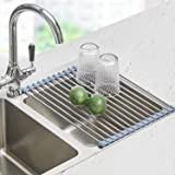 Seropy Foldable Sink Rack Mat Stainless Steel Wire Dish Drying Rack for Kitchen Sink Counter Cups Vegetables Fruits, Roll Up