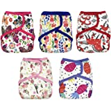Baby Waterproof PUL Cloth Diaper Cover AI2, Hook & Loop, 5-Pack Lot + 10 inserts (Girl-2, Size 2/ 15-35lb)