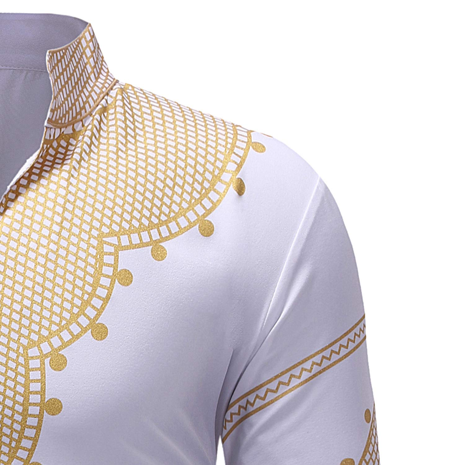 Fieer Mens African Dashiki Causal Stand Collar V-Neck Long-Sleeve Tees