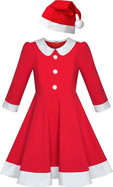Sunny Fashion Vestido para niña Navidad Sombrero Rojo ...