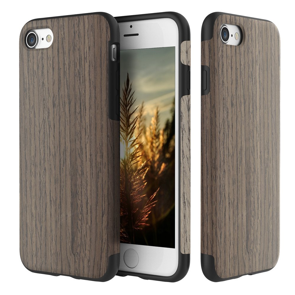 iPhone 7 Case, ROCK [Grained] - Black Rose [Origin] [Non Slip] [Bulit-in Magnetic Metal Plate] [Wood Tactile] [Natural Wood and TPU Rubber] [Fingerprint Free] Case For Apple iPhone 7 by ROCK