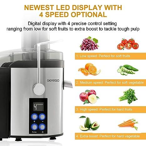GEARGO Licuadora para Verduras y Frutas, 800W Licuadora con Boca Ancha de 75mm y Acero Inoxidable Desmontable, Pantalla LED 4 Velocidades, ...