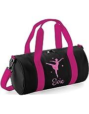 beyondsome Personalised Girls Ballet Dance Glitter Barrel Bag 543f0379ee0b7