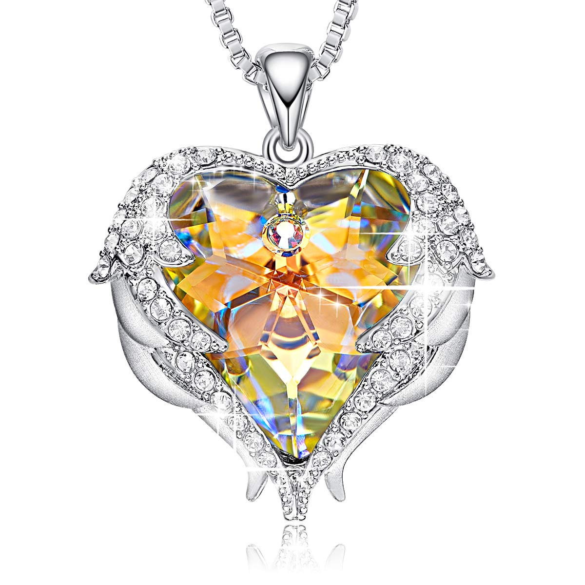 CDE Swarovski Necklaces Heart Crystal Jewelry Locket Pendant Silver Necklaces Women Birthstone Gifts