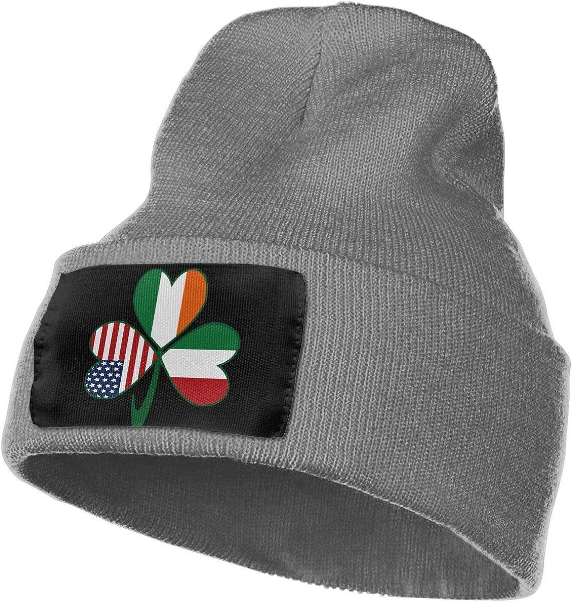 SLADDD1 Italian Irish American Shamrock Warm Winter Hat Knit Beanie Skull Cap Cuff Beanie Hat Winter Hats for Men /& Women