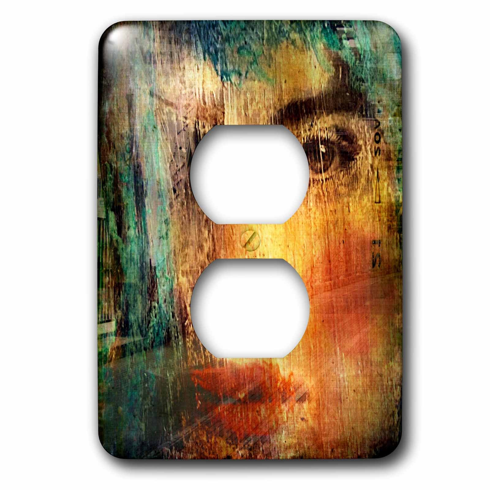 3dRose Cassie Peters Mixed Media - Woman in the City - Light Switch Covers - 2 plug outlet cover (lsp_262924_6)