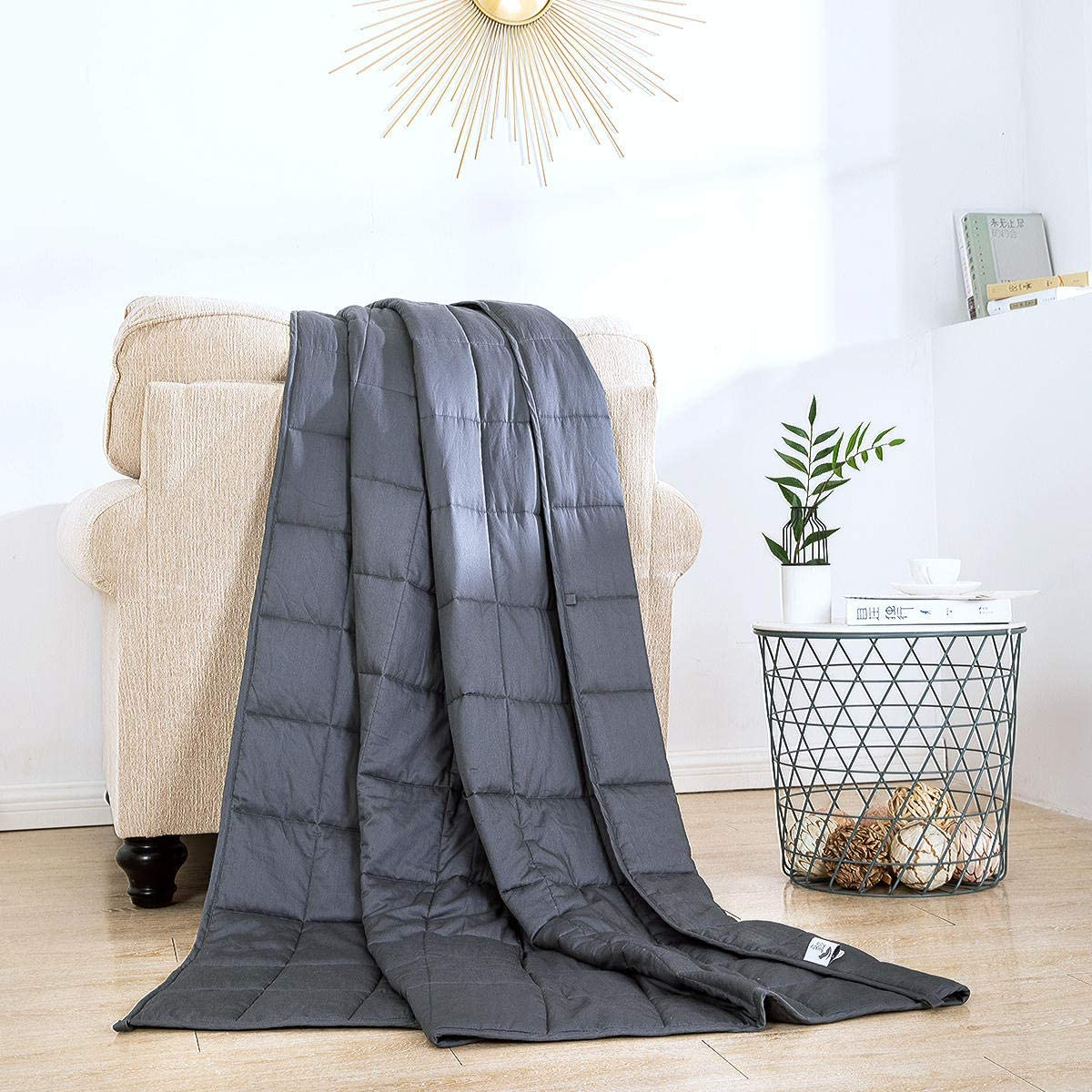 60 x 80 inch 100/% Cotton Weighted Blankets with Glass Beads for Calming Comfort Beauty Kate Weighted Blanket 20lbs Queen Size Grey Heavy Blanket for Adults