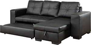 Furniture of America Charlton Contemporary Corner Sectional with Pull-Out Sleeper