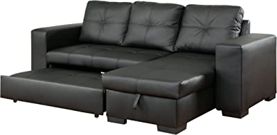 Furniture of America Charlton Contemporary Corner Sectional Pull-Out Sleeper, Black