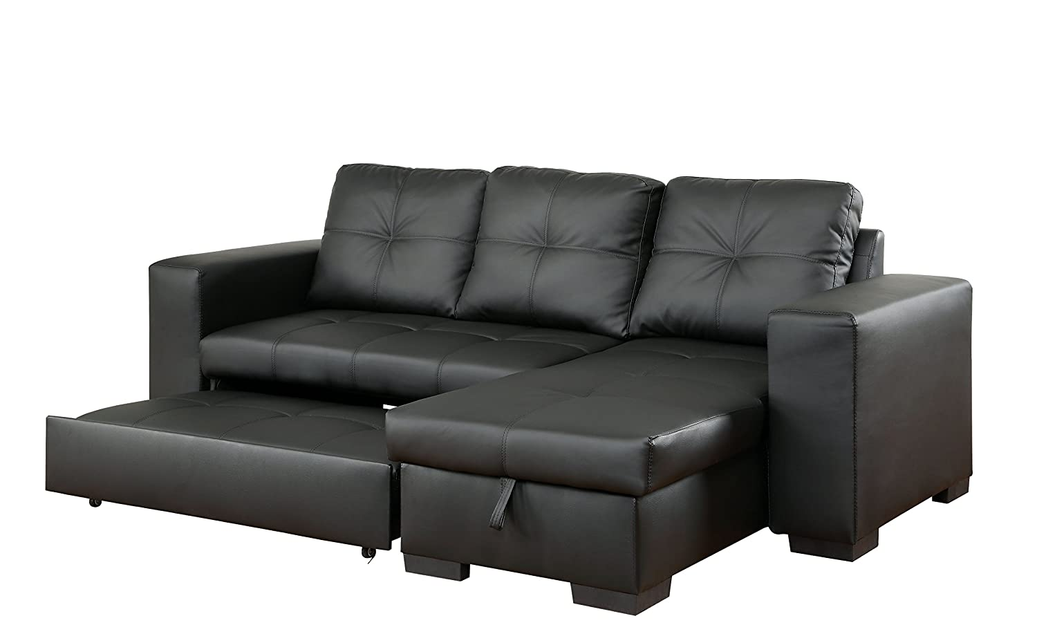 Outstanding Furniture Of America Charlton Contemporary Corner Sectional With Pull Out Sleeper Black Machost Co Dining Chair Design Ideas Machostcouk