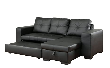 Astounding Furniture Of America Charlton Contemporary Corner Sectional With Pull Out Sleeper Black Caraccident5 Cool Chair Designs And Ideas Caraccident5Info