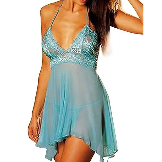 e9598574ae4f Fanteecy Women Sexy Plus Size Lace Lingerie Set See-Through Babydoll  Chemise Sleepwear Dress+