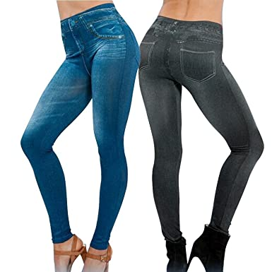 e9a86b8d43 Z.M Jeggings Jeans for Women Washed Denim Leggings Soft Pants with Denim  Look for Women Trousers