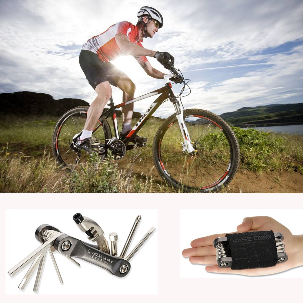 Portable Bicycle Repair Set Hexagon Wrench//One Word Wrench//Cross Wrench//Chain Rivet Remover//All in One Multifunction Bike Tools BASE CAMP Bike Multitool Tool Kits