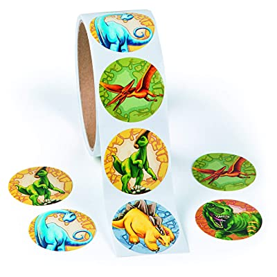 """Roll of Dinosaur Stickers (100 Pack) 1 1/2"""": Toys & Games"""
