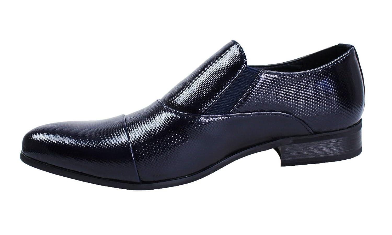 Scarpe uomo linea classica blu class calzature vernice fibbia eleganti cerimonia (43, blu)