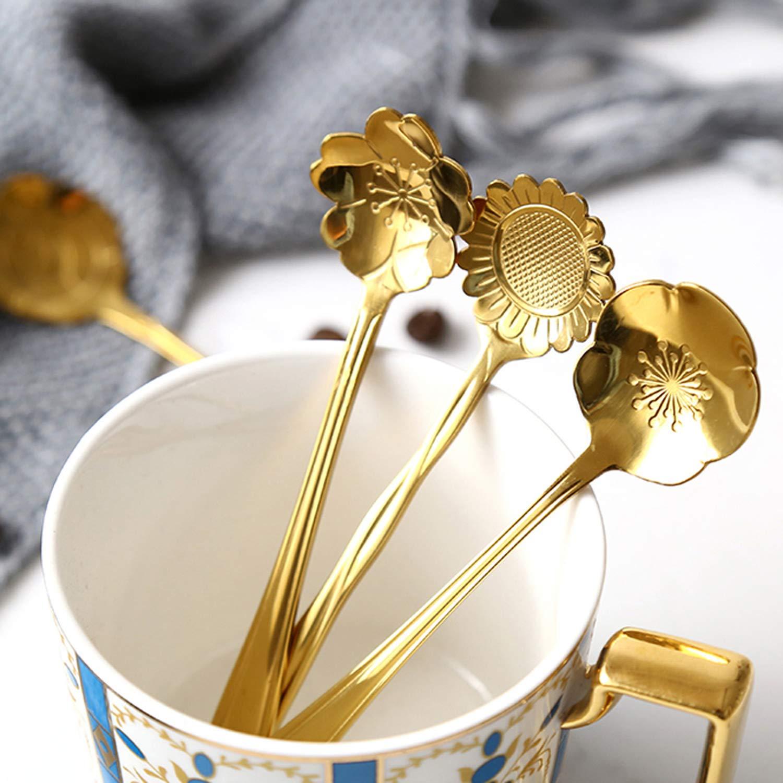 SunTrader Set di 8 cucchiaini da caff/è in acciaio INOX a forma di fiore Gold
