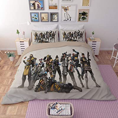EVDAY 3D APEX Legends Duvet Cover Set for Boys Bed Set Super Soft Microfiber Popular Game Theme Design Bedding 3Piece Including 1Duvet Cover,2Pillowcases Full Size: Home & Kitchen