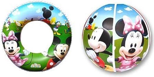 Paolo Rossi completa sea Aire libre Mickey Mouse Mickey y Minnie Mouse donut salvavidas, pelota, corta mat: Amazon.es: Hogar