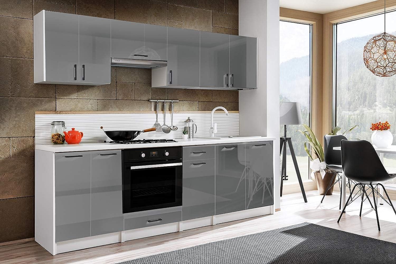Tarraco Comercial Muebles de Cocina Completa Eliza Gris Brillo 240 cm: Amazon.es: Hogar