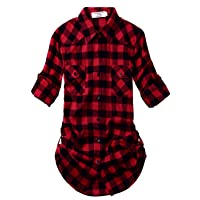 Match Women's Long Sleeve Flannel Plaid Shirt #B003