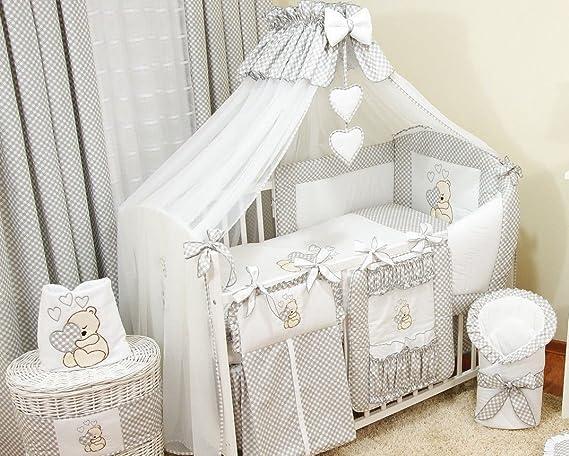Conjunto de ropa de cama para cuna de beb/é conjunto completo XXL de 10/piezas 100/% algod/ón incluye mosquitera rosa Rose Talla:120x60cm dise/ño bordado de osito