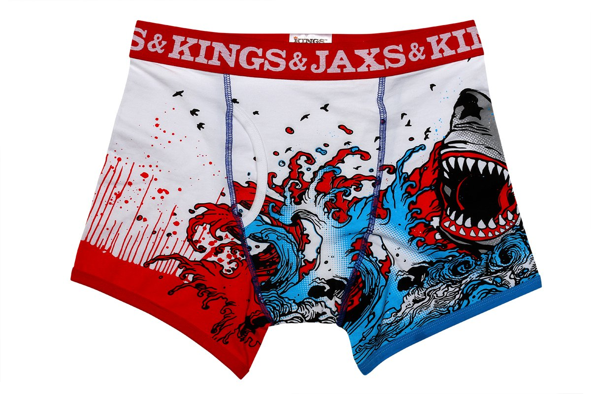 Kings and Jaxs Men's Shark Attack Boxer Briefs (Red/White/Blue, Small)