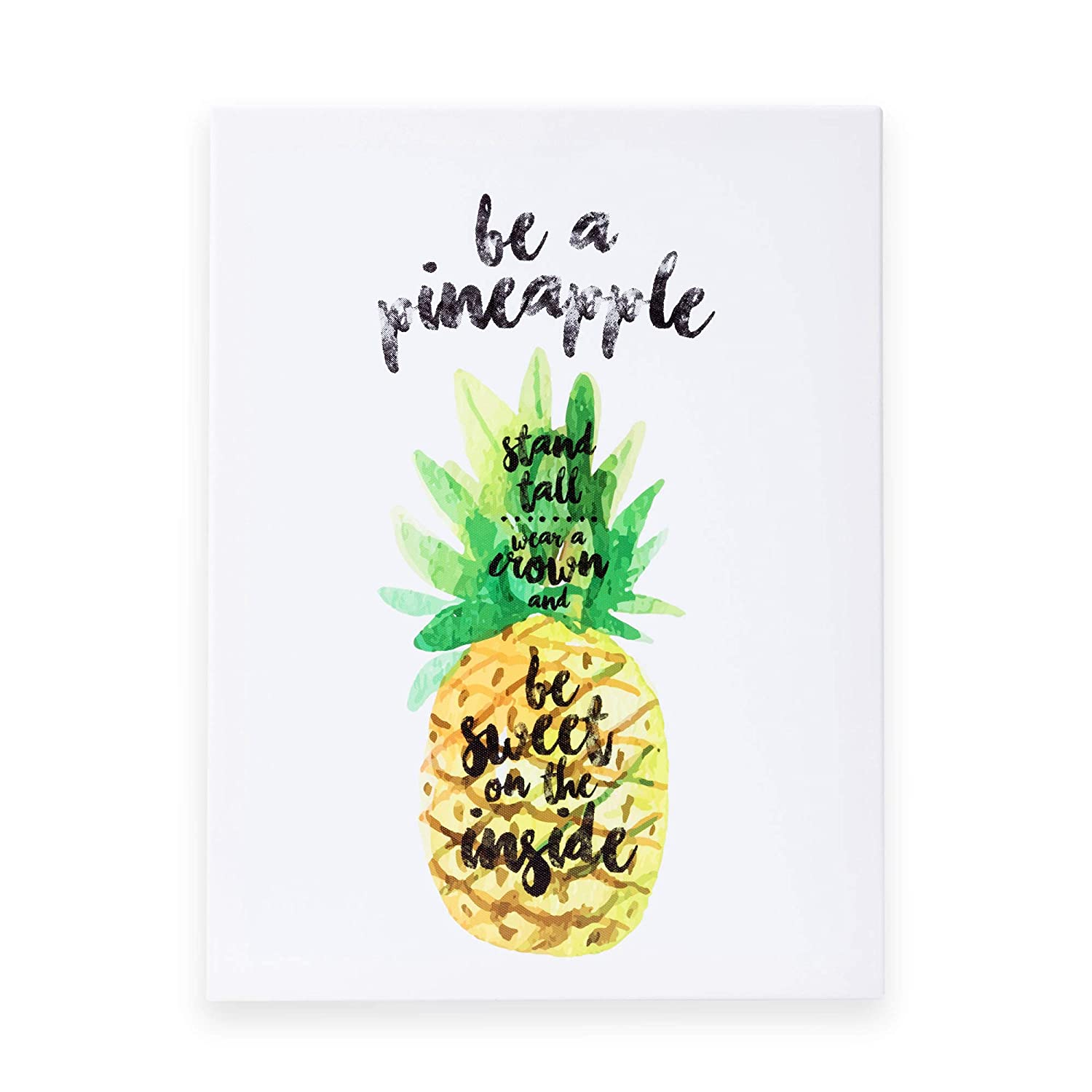 "OUTSHINE 12"" x 16"" Framed Pineapple Canvas Wall Art Positive Quote Hand Drawn Pineapple Kitchen Office Bedroom Hanging Decor 