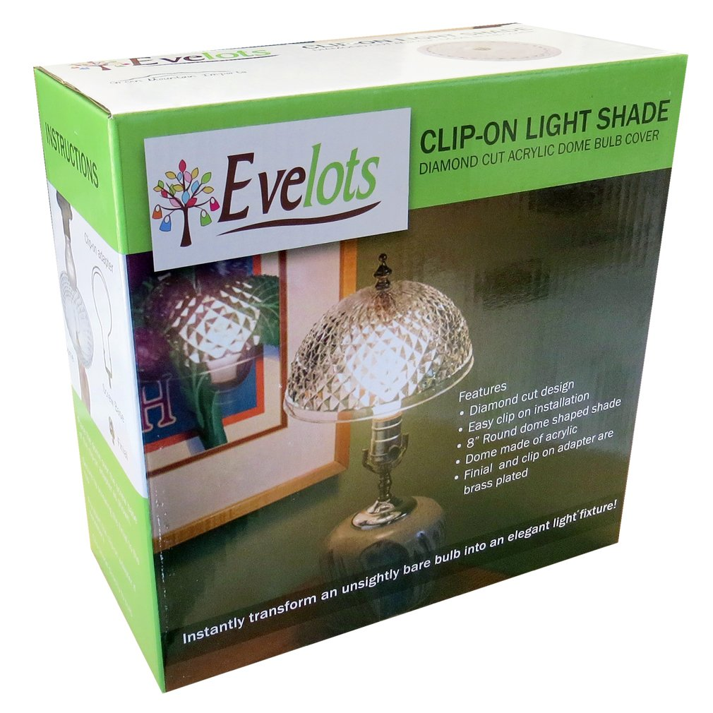 Evelots Antique Clip On Shade, Vintage Diamond Cut Acrylic Dome Light Bulb Fixture by Evelots (Image #5)
