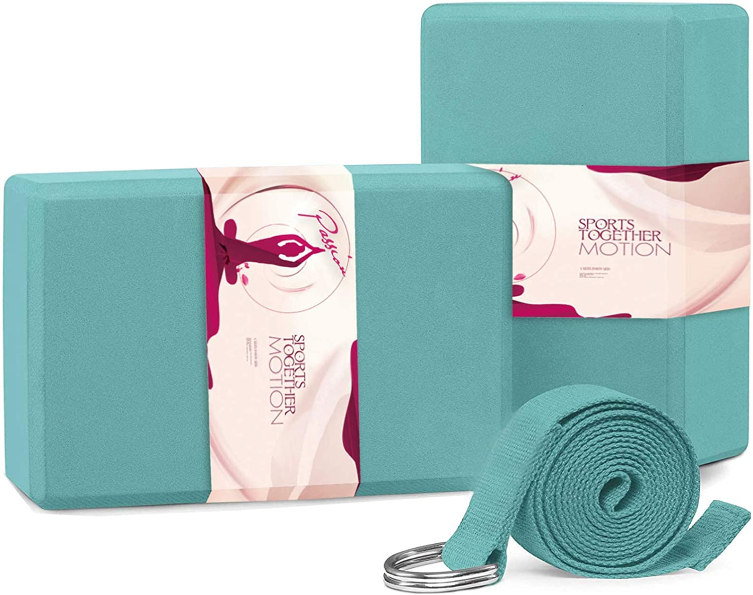 SAMYOGA Yoga Blocks 2 Pack with Strap High Density EVA Foam Light Weight Yoga Brick and New Convenient Form with Non-Slip Surface for Stretching and Flexibility