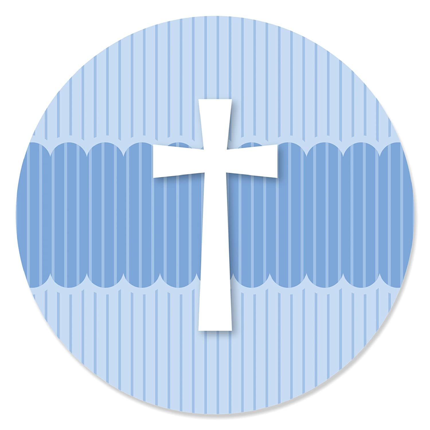 Amazon delicate blue cross baptism party circle sticker amazon delicate blue cross baptism party circle sticker labels 24 count kitchen dining buycottarizona