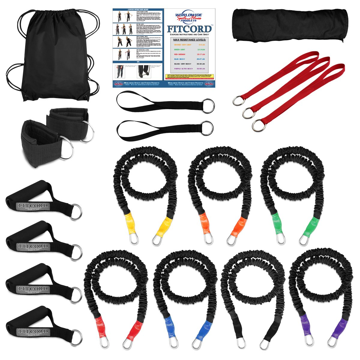 """FitCord """"BRUTE"""" Band Load Kits. American Made. Home & Portable Gyms. 7 Highest Grade Safety Sleeve Bands, Handles, Door Anchor, Ankle & Wrist Straps, Bag & Exercise Manual.."""
