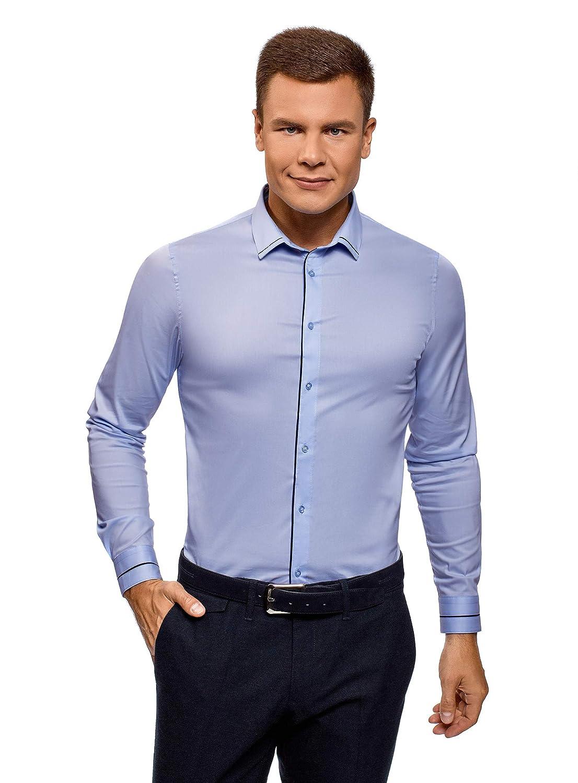 oodji Ultra Uomo Camicia Slim Fit con Finitura in Contrasto RIFICZECH s.r.o. 3B140006M