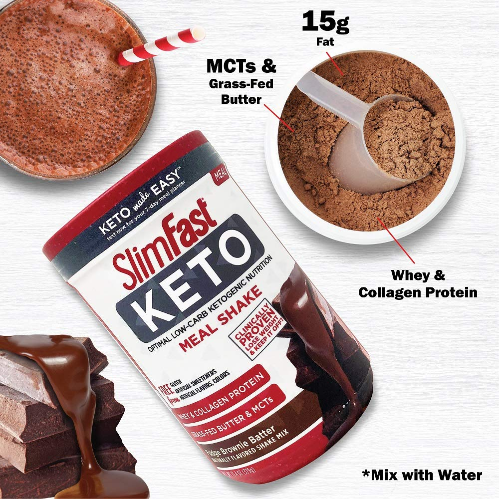 Slimfast Keto Meal Replacement Powder Fudge Brownie Batter Canister, 13.4 oz, Pack of 1 by SlimFast (Image #4)