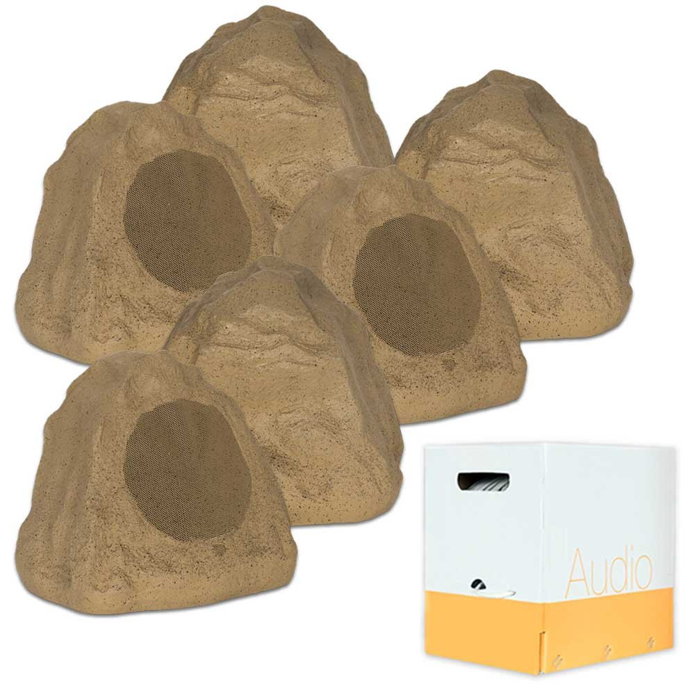 Theater Solutions 6R6S Outdoor Sandstone 6.5'' Rock 6 Speaker Set with Wire for Yard Pool Spa Patio Garden