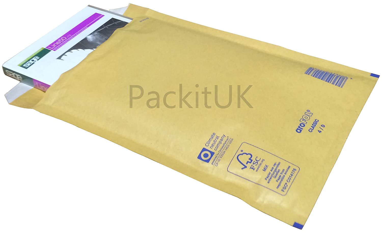 PackitUK 1709-50 200 x 275 mm Arofol Size D AR04 Padded Bubble Lined Mailers Cushioned Envelope - Gold (Pack of 50)