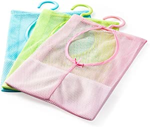yueton 3pcs Colorful Hanging Mesh Bag, Bathroom Shower Storage Organizer Set Hamper Bag Closet Rack Clothes Clip Collection Bag