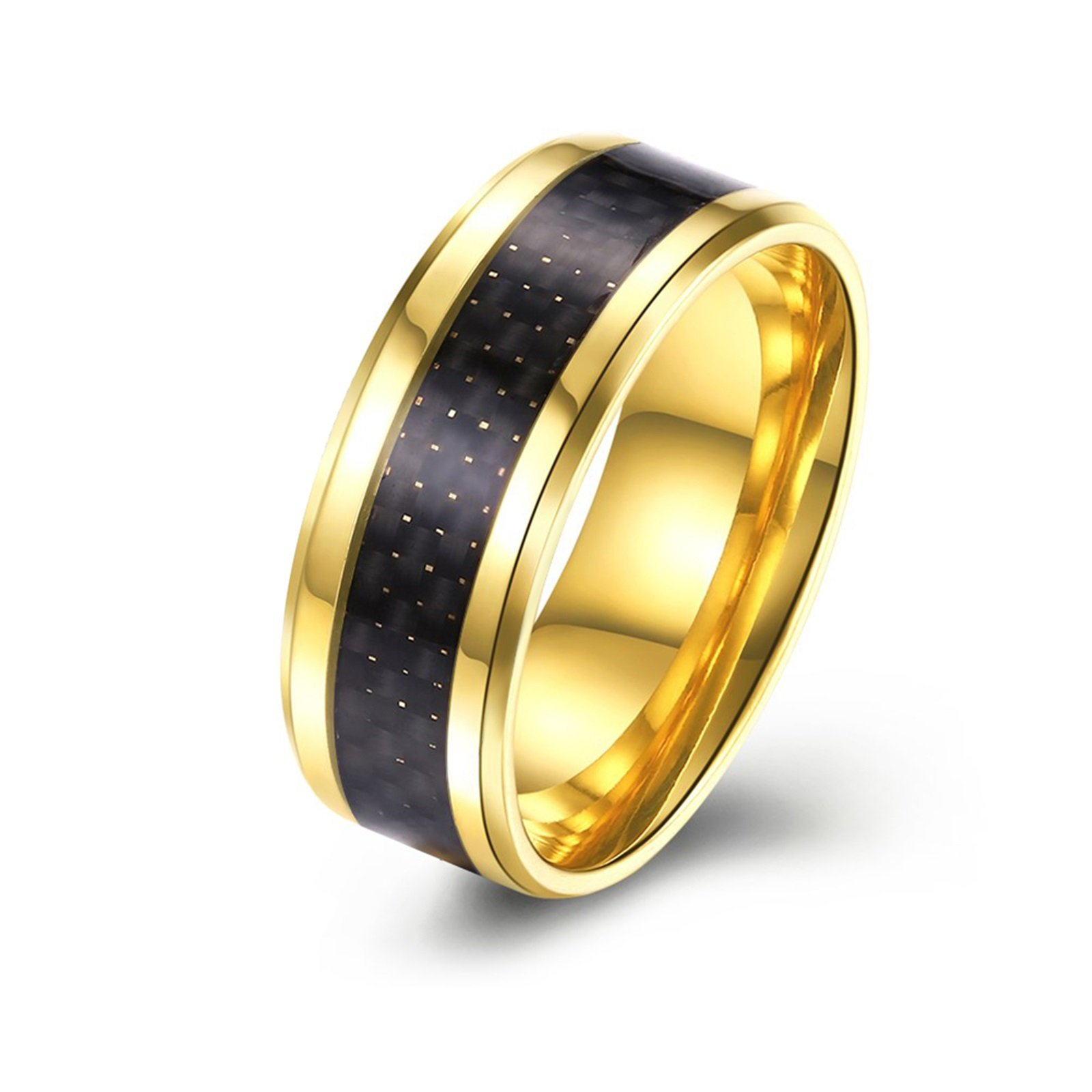 Epinki Stainless Steel Wedding Rings for Men Black Carbon Fiber Inlaid 8MM Gold Ring Size 9 Men Accessories