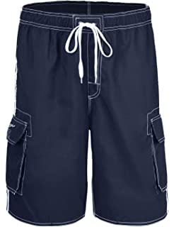 a4ffc7256e Hopgo Men's Quick Dry Beach Short Solid Color Boardshorts Swim Trunks with Mesh  Lining