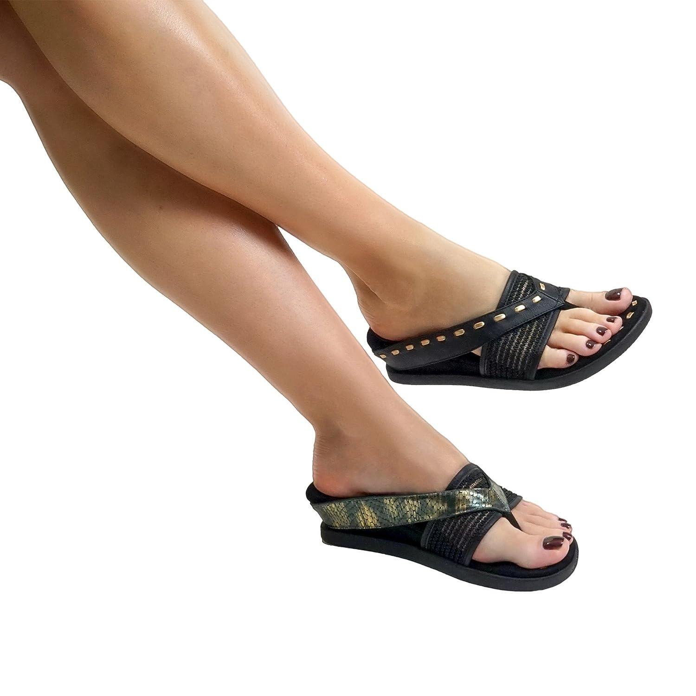 Modzori ISSA Women's Low Wedge Reversible Sandal B07BVG6J2C 9 B(M) US|Black/Metallic