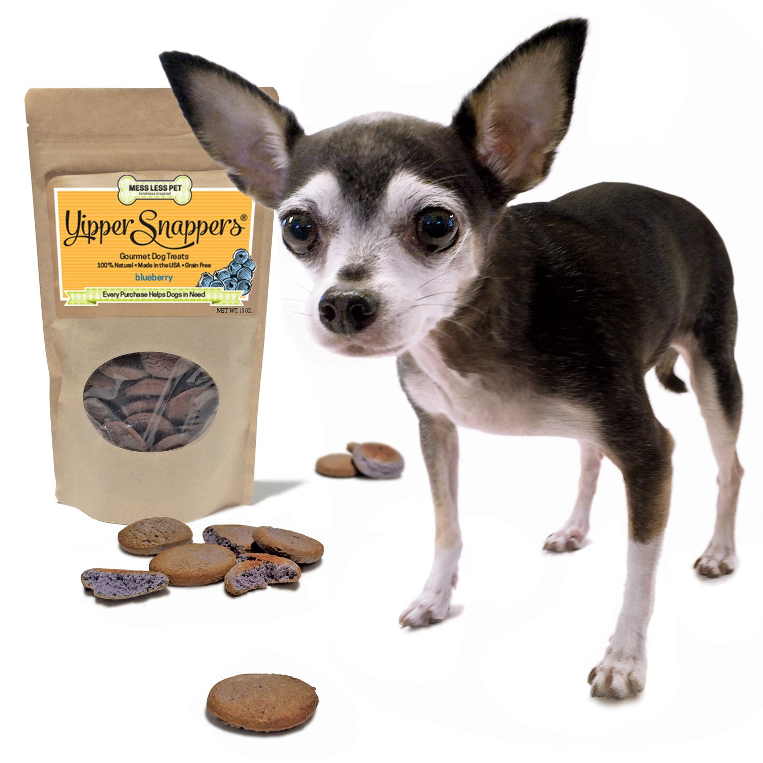 Hypoallergenic Dog Treats Made in USA, Grain Free, 100% All Natural Yummy Yipper Snappers Blueberry Gourmet Dog Treats, Biscuits Help Reduce Allergies and Cleans Teeth