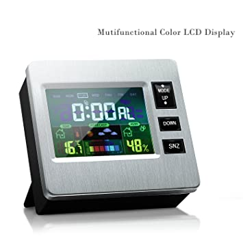 Humidity Monitor Thermometer  Color LCD Digital Hygrometer Indoor  Temperature Humidity Gauge With Weather Forecast,